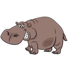Cartoon hippopotamus wild animal character vector