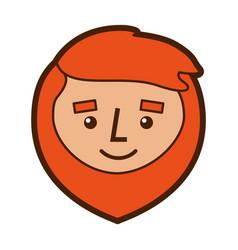 cartoon smile face man beard character vector image