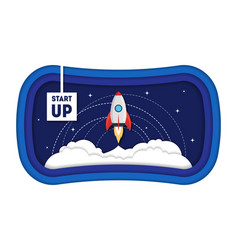 Cartoon symbol start up concept space ship rocket vector