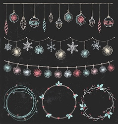 Christmas Garlands and Wreaths Set vector