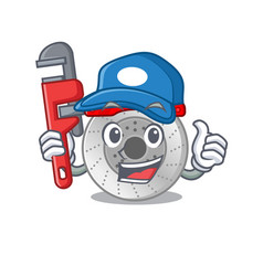 Cool plumber car brake on mascot picture style vector