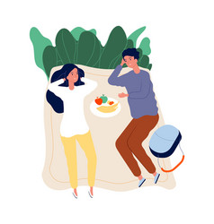 couple on picnic outdoor activity relaxing and vector image