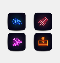 Credit card target and payment icons contactless vector