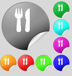 Crossed fork over knife icon sign Set of eight vector