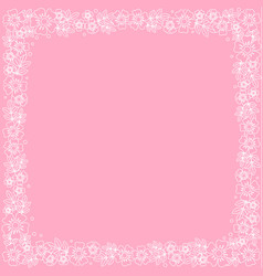 decorative square frame of white outline flowers vector image