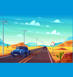 Desert landscape with highway and cars traveling vector