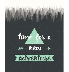 Drawn calligraphic quote time adventure poster vector