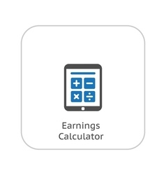 Earnings Calculator Business Icon Flat Design vector image