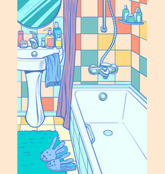 Empty bathtub in bathroom vector