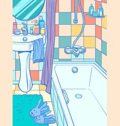 Empty bathtub in bathroom vector