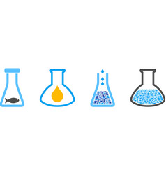 Fish oil analysis glassware collage vector
