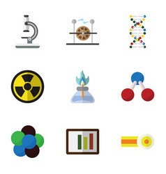 Flat icon study set of genome glass chemical and vector