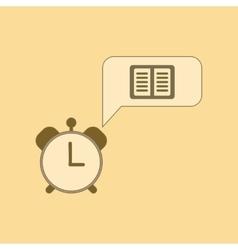 flat icon thin lines book alarm clock vector image