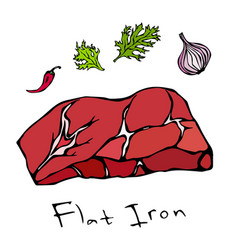 flat iron steak cut isolated on white vector image