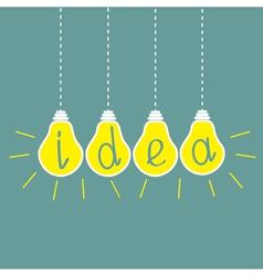 Four hanging yellow light bulbs Idea concept vector