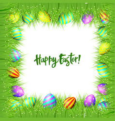 frame of easter eggs and green grass vector image