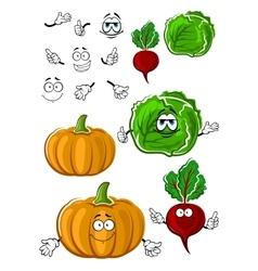 Funny cartoon isolated fresh veggies vector