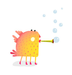 funny monster with flute making bubbles vector image