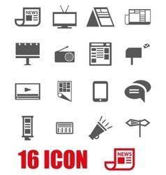 Grey advertisement icon set vector