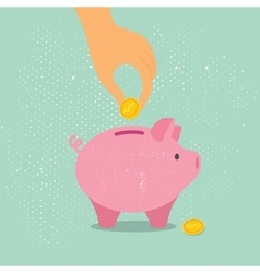 Hand down a coin in piggy Bank vector