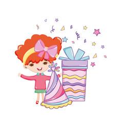 Happy birthday girl cartoons vector