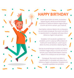 Happy birthday poster redhead bearded man jump vector