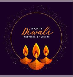 Happy diwali festival card design with three diya vector