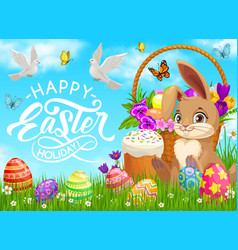 happy easter holiday poster with bunny and basket vector image