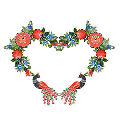 Heart russian pattern vector
