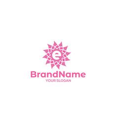 Initial e flower logo design vector
