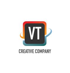 initial letter vt swoosh creative design logo vector image