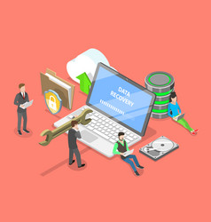 isometric flat concept of data recovery vector image