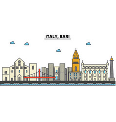 Italy bari city skyline architecture buildings vector