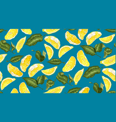 Lemon seamless pattern with slices and leaves vector