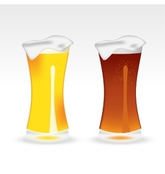 Light and dark beer in a tall glass vector