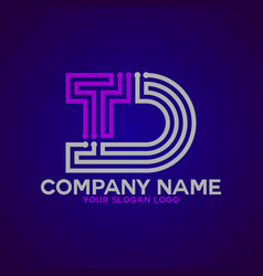 logo letter d and t 3 vector image