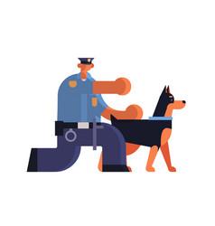 Male police officer with german shepherd policeman vector