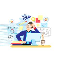 man designer animator vector image