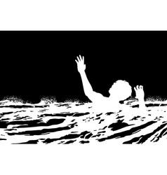 Man drowning vector