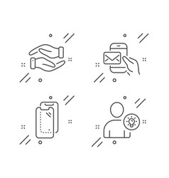 Messenger mail helping hand and smartphone glass vector