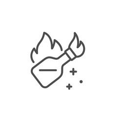 Molotov cocktail line outline icon vector