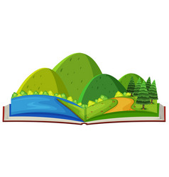 Mountain scene and river in the book vector