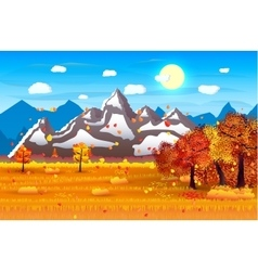 nature landscape forest mountains field sun vector image