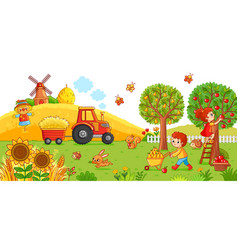 On a agricultural theme vector