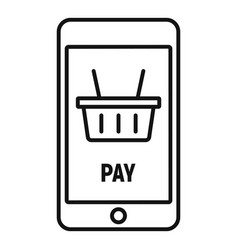 Online smartphone pay icon outline style vector