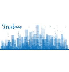 Outline Brisbane skyline with blue buildings vector