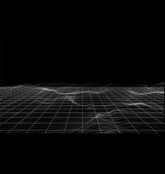 particles landscape white dots perspective grid vector image