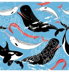 Pattern of sea whales and fish vector