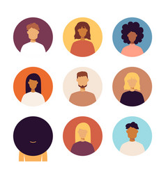 people portraits icons set vector image