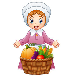 Pilgrim woman with fruits a vector